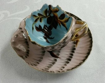 Figural Tea Cup and Saucer; Shell Shaped by Erdmann Schlegelmilch of Germany circa 1901-1938    #DSC