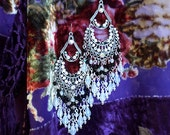 """Sparkly Black and White Opal Crystal Chandelier Earrings, Aurora Borealis, Silver or Bronze, 4 1/2"""" Long, Kerala Rose, Clip-On Option"""
