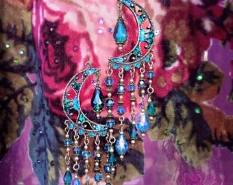 "Blue & Purple Crystal Celestial Chandelier Earrings, Arabian Nights Fantasy Moroccan, Gypsy Moon 3"" or 5""Long Earring, Swarovski Rhinestones"
