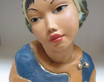 Vintage Chalkware Plaster Asian Girl Bust Head Florence Art Company Jerome