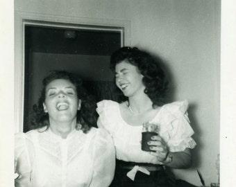 """Vintage Photo """"Deborah's Awkward Singing Voice"""" Girls Snapshot Antique Photo Black & White Photograph Found Paper Ephemera Vernacular - 188"""