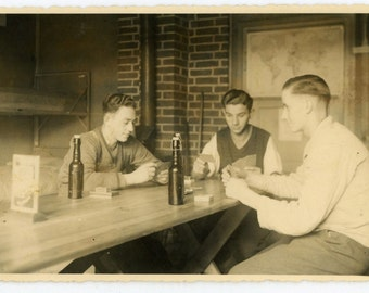 """Vintage Real Photo Postcard """"Old School Gaming"""" Playing Card Game Old Antique RPPC Photo Black & White Photograph Found Paper Ephemera - 36"""
