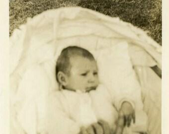 "Vintage Photo ""Protective Father"" Baby Children Snapshot Old Antique Photo Black & White Photograph Found Paper Ephemera Vernacular - 173"