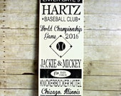 VINTAGE BASEBALL TICKET - Handpainted Wood Sign