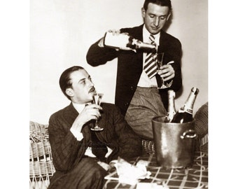 Congratulations Card - Two Men Celebrate with Champagne - Gay Wedding - Repro Vintage Photo