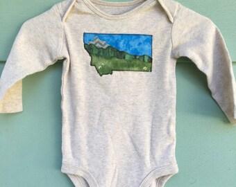 Big Sky Baby, Montana Love mountain baby onesie, tan long sleeve,6 months, Glacier National Park, OOAK