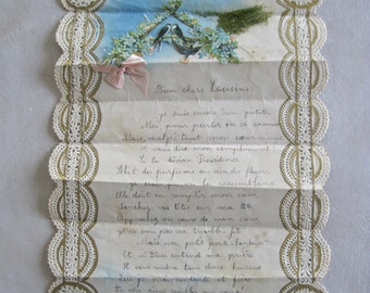 Antique French Hand Written Letter on Fabulous Appliqued Writing Paper Cut Paper Lace Scalloped Edges Letter to Cousins C1920