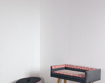 Vanity-sized Stool:  Gray with Black and White Geometric Linen Detail