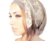 Beige Cream Head Scarf Pre Tied Bandana Snood Head Scarves Tichel Hair Snood Chemo Head Scarf Vintage Nude Floral Lace Wrap Cotton - 078