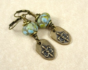 Fleur de Lis Charm Earrings with Handcrafted Lampwork Beads - Artisan Handmade Beads with Fleur de Lis, Brass Earrings, Blue Earrings