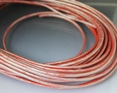 8 inches Light Red Metallic leather cord 3 mm Core leather cord 3mm Light red cord Red leather pink leather red cord