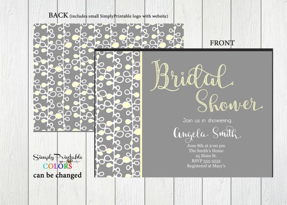 Bridal Shower Invitation, Yellow & Gray Bridal Shower Invite, Modern Shower Invitation, Baby Shower Invitation, Invites, Birthday