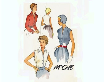 1950s Blouse Pattern Sleeveless or Long Sleeves V Neckline Blouse Bust 34 Size 16 McCall 8053 Vintage Sewing Pattern
