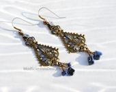 Moroccan Boho Spanish Sodalite Blue Filigree Earrings