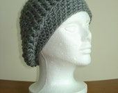 Handmade Crochet Grey Beanie Hat