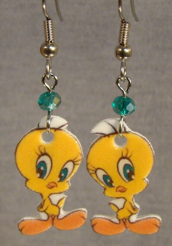 tweety bird dangle earrings looney tunes surgical by
