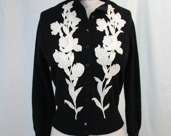 1950s Cashmere Black and White  Applique Cardigan sweater