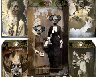 printable Zombie collage sheet Apocalypse family tags, Macabre gothic for gifts and Halloween Gothic Victorian Zombies