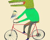 Croc and Owl Biking. Limited edition art print of only (100). Illustration print - kids decor - childrens wall art. Make Your Wall Cool.