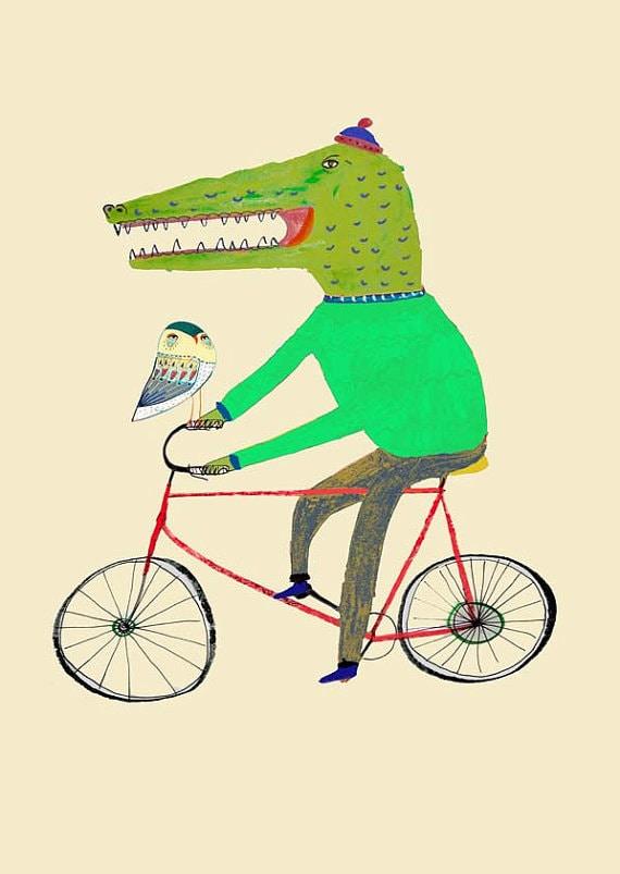 Croc and Owl Biking. Limited edition art print. Illustration Art Print, kids art, nursery decor, children's wall art, kids room decor.