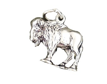 Buffalo Charm 925 Sterling Silver 3d Pendant