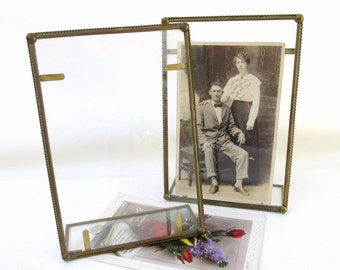 Retro Glass Brass Easels / Photo Frames / Postcard Display – Mexican Glass Stand