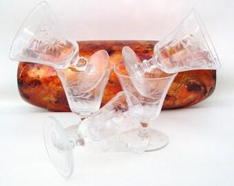 Vintage Cut Crystal Glasses, Bar Glasses, Juice Glasses, Etched Crystal Stemware, Sherry Glasses, Set of 5