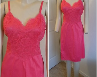 Vintage Vanity Fair Coral Full Slip with Lace Bodice  Size 36 Short