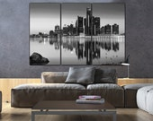 Detroit Skyline Canvas in B&W, Detroit Large Wall art, Detroit Print, Detroit Canvas, Detroit Photo, Detroit art, Detroit wall art, downtown