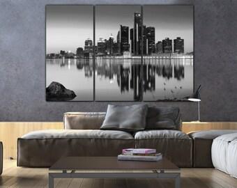 Detroit Skyline Canvas in B&W, Detroit Large Wall art, Detroit Print, Detroit Canvas, Detroit Photo, Detroit art, Detroit wall art, downtown