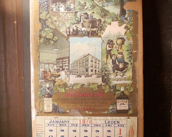 Antique Jos. Triner's Advertisting Wall Calendars from 1916 - Bitter Tonic Elixir