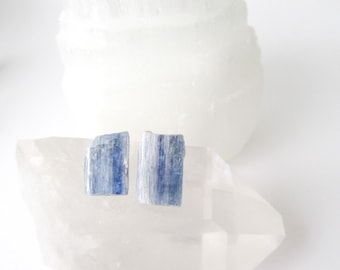 Kyanite Stud Earrings - Blue Posts Earrings - Rough Gemstone - Handcrafted