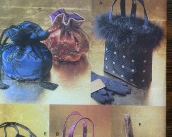 Vogue Pattern No. 9893  Out of Print Original Pattern Velvet or Silk Evening Bags 6 Different BAGS Stylish Bags Uncut nearly Vintage Vogue