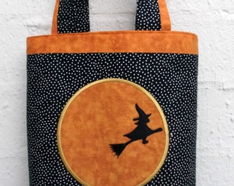 Halloween Trick or Treat Tote with Witch Embroidery Design.