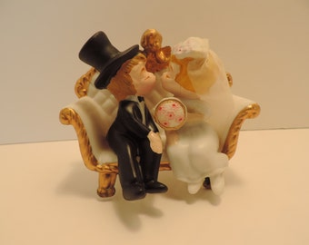 Vintage Cake Topper Bride and Groom On Sofa Wedding Cake Topper