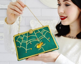 Caught in Your Web Handbag or Clutch in Green, Vintage and Upcycled