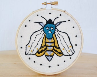 Death's-head Hawkmoth Embroidered Mini Wall Hanging Hoop