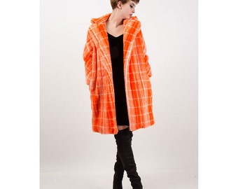 Faux fur coat / Vintage Orange plaid fluffy vegan wrap coat / Club kid S M