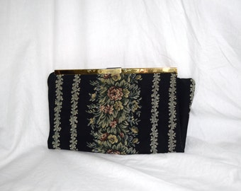 Garden Gnome - 1940s Vintage Bienen-Davis Fold Over Purse Clutch Secretary Black with Flower Detail and Gold Findings