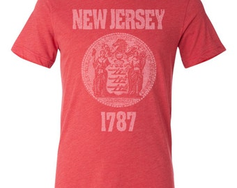 New Jersey State Seal T-Shirt Vintage Style Soft Retro East Coast Shirt Unisex Men's Slim Fit and Women's Tee