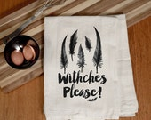 Boho Halloween Towel- Witches Please! - Halloween Feathers - Funny Halloween Kitchen Towel - Decorate for Halloween - Fun Home Accent Gift