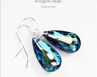 Blue Crystal Earrings Sterling Silver Tropical Caribbean Swarovski Teardrop Teardrops Pear Royal Blue Aqua Green Teal % SPECIAL