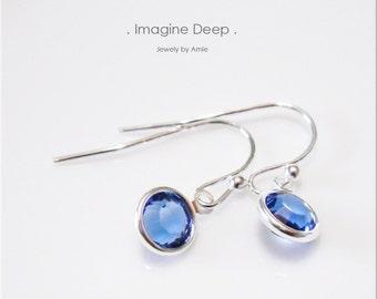 Blue Crystal Earrings Sterling Silver Sapphire-like Swarovski Crystal Birthstone Dangle Earrings - 30% off SPECIAL