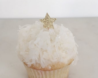 24 MINI glitter star cupcake toppers // Party Pick (Set of 24)