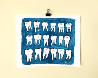 Blue Molars.  A print of an original dental watercolor painting.