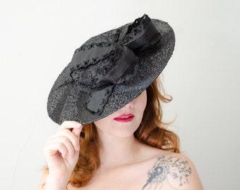 1940s vintage hat / black straw tilt hat / Gage Handcraft