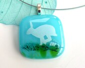 Fused glass pendant ~ hare, white rabbit necklace, turquoise hares jewelry handmade casual jewellery Valentine's gift for animal lovers