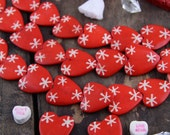 Red Heart Valentine Bone Beads, Hand Painted, 27x28mm, Natural Jewelry Making Supply, Festive Bright Valentine's Day, Star Pattern, 8 Beads