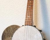 Vintage Restored BANJO UKULELE banjolele Uke Regal pre war with art on the old head with soft case