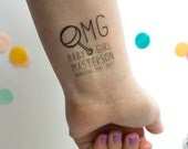 OMG! Baby Shower Temporary Tattoos,  Baby Announcements, Baby Shower, Shower Favors, OMG, Hashtag, Rattle, Emoji Tattoo, OMG Tattoo